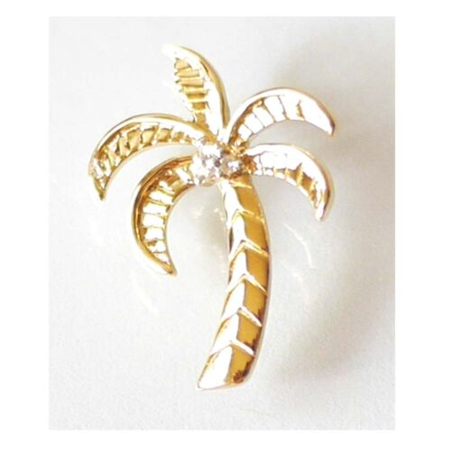 "14K Solid Yellow Gold Diamond Palm Tree Pendant Wid 5//8"" Length 7//8""C2161-10"