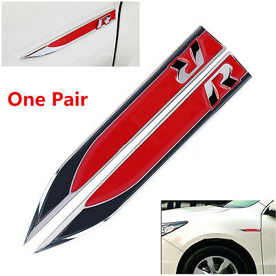 2x Red Metal R Logo Car Side Wing Fender Emblem Knife Badge Stickers for VW Golf