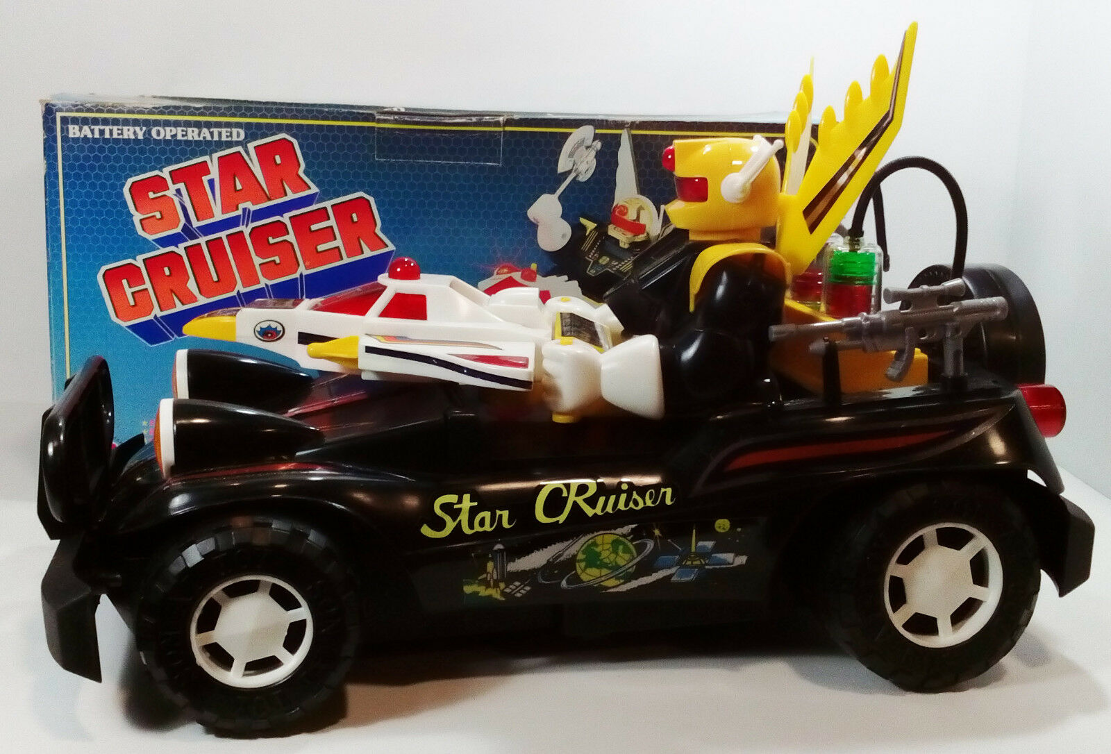 1985 SON AI TOYS BATTERY OPERATED STAR CRUISER SECTAURS MOTU schwarzSTAR