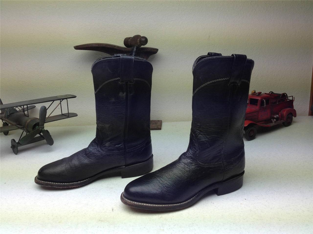 LARRY MAHAN DISTRESSED WESTERN ROPER DARK blueE-BLACK WORK CHORE FARM BOOTS 5 B