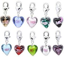Dangle Beads Mixed Glass Heart Clip On Charm Bracelets Jewelry making Craft 20pc