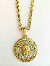 bed5db043 Iced CZ Gold 14k GP Mini Micro Pave Angel Charm Pendant Rope Necklace 30