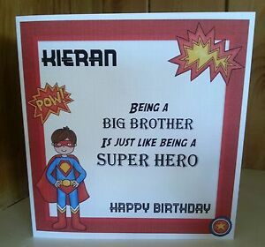 Image Is Loading HANDMADE PERSONALISED BIG BROTHER SUPER HERO CARD BIRTHDAY