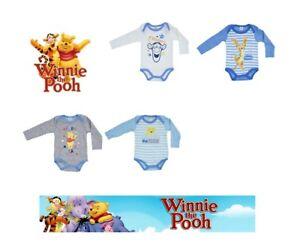 Bebe-Ninos-Disney-Winnie-The-Pooh-2-paquete-de-trajes-de-cuerpo-0-36-mths-algodon-mameluco