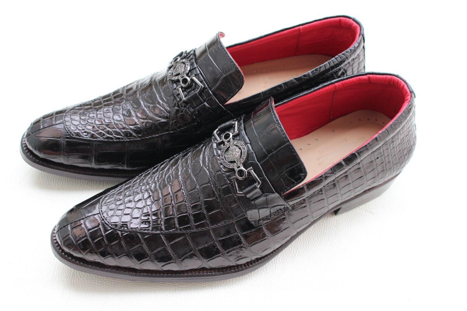 Zapatos De Vestir Piel de Cocodrilo de Cuero Genuino Negro Para Hombres