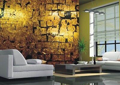 Premium Vliestapete Fototapete Bildtapete Gold Regen Blattgold Steine 330x270 cm