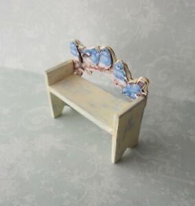 Dollhouse Miniature*Small Bluebird Bench /Stool*1:12*OOAK*artist*blue bird*