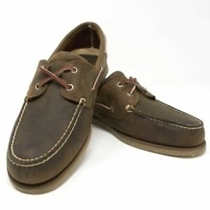 Timberland-Men-039-s-Classic-2-Eye-Chaussures-Bateau-Med-Marron-Pleine-Fleur-Taille-7-5-Neuf