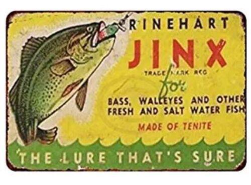 BASS LURE TIN SIGN RINEHART JINX WALLEYE CRAPPIE FISHING REEL BAR PUB BOAT FISH