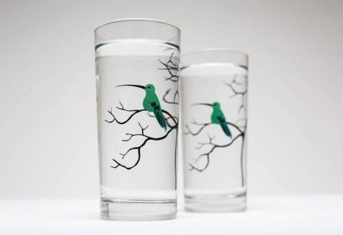 Hummingbird Glassware Set of 2 Everyday Drinking Glasses Green Hummingbirds
