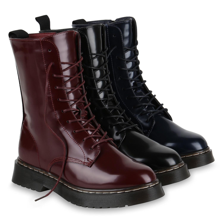 Damen Stiefeletten Lack Stiefel Plateau Boots Coole 818852 Schuhe