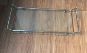 Vintage-Glass-amp-Chrome-Rectangular-Footed-Vanity-Valet-Tray-with-handles