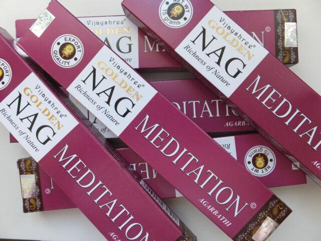 6 x 15 Gramm Golden Nag Meditation Agarbathi - incense sticks Räucherstäbchen