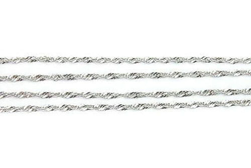 10K White Gold Sparkling Singapore Pendant Chain 1mm wide 16 inch Spring Ring
