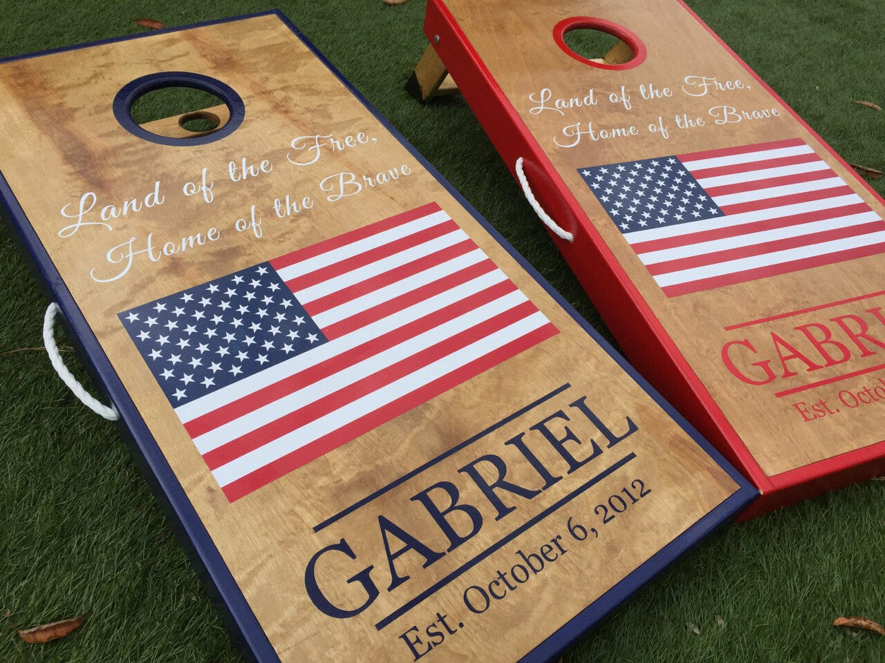 American Flag and Monogram Cornhole Boards