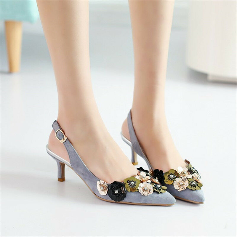 Fashion Womens Floral Suede Kitten Heels Pointed Toe Sandals Slingbacks shoes