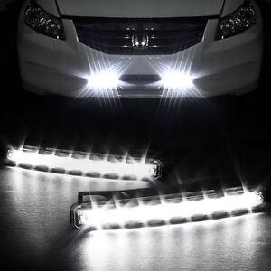 2-x-8-LED-BLANC-XENON-ECLAIRAGE-LED-PUISSANT-PHARE-FEUX-DE-JOUR-DIURNE-AUTO-CAR
