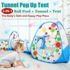 buy popular c40b2 4ccc1 Details about Portable 3 in 1 Kids Baby Play Tent Tunnel Ball Pit Playhouse  Ocean Ball Pool UK