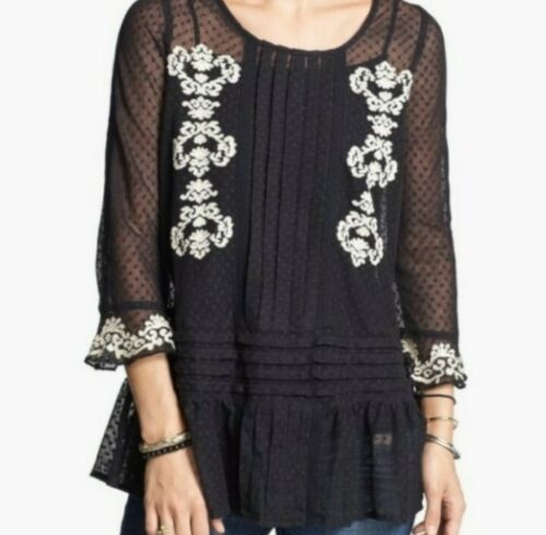 FREE PEOPLE Jocelyn Black Lace Embroidered Tunic T