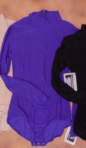NWT Mock Turtleneck Long Sleeve Snap Crotch Leotard child//ladies zipperback