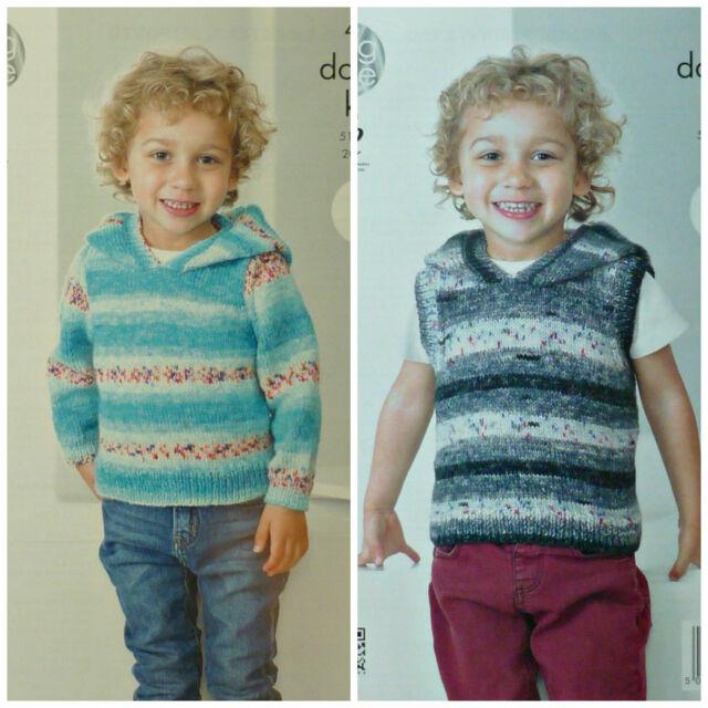 Knitting Pattern Boys Easy Knit Sleeveless Hoodie Dk King Cole 4249