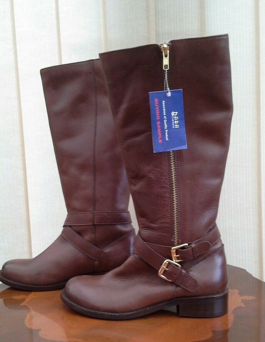 ROTFOOT KNEE HIGH SADDLE BROWN LEATHER BOOTS BUCKLE DETAIL UK 4 EUR 37