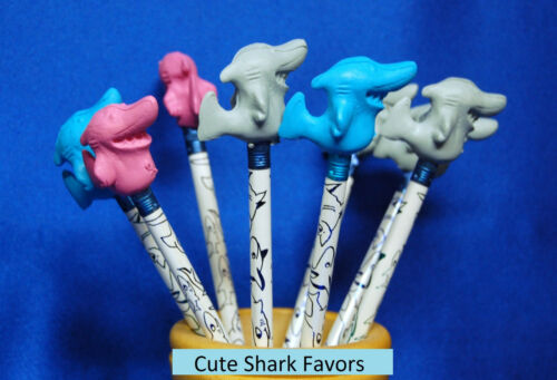 8 Sassy Sharks Pencils /& 8 Shark Erasers Pencil Toppers Shark Party Favors