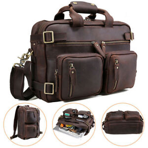 Convertible-Leather-Backpack-14-034-Laptop-Briefcase-Shoulder-Bag-Satchel-Handbag