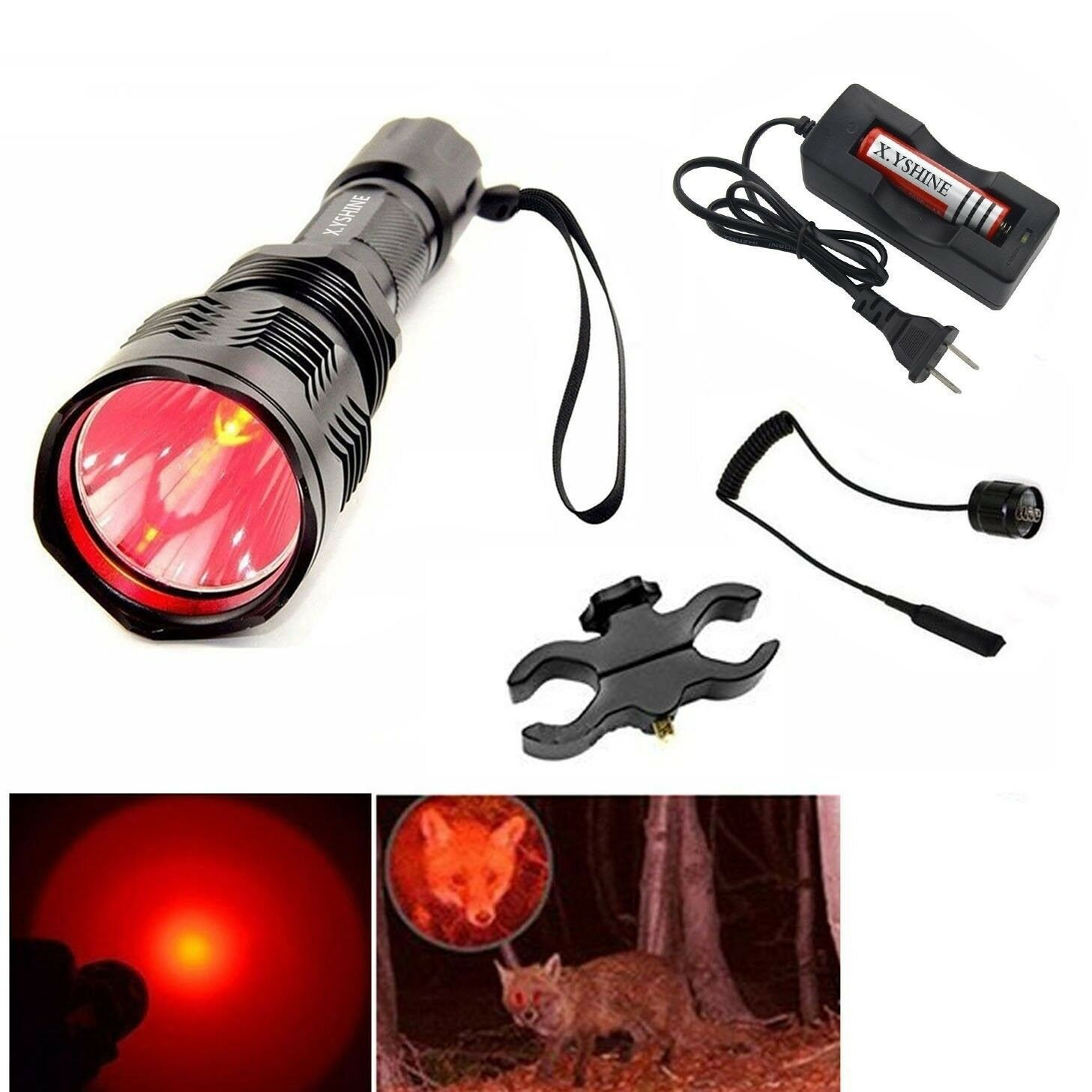 Tactical Hunting Night Flashlight Red Light LED Laser Mount Torch Predator Gun