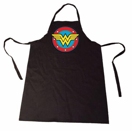 Wonder Woman Round Logo  APRON FRONT POCKET CHEFS KITCHEN COOKING BAKING BBQ