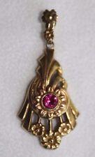 Antique Art Deco Nouveau Arts Crafts ESEMCO 10Kt Gold Lavaliere Pendant Necklace