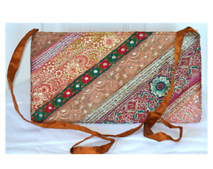 Brown Color Hand Embroidered Borders Shoulder Cross Body Bag Silk From India