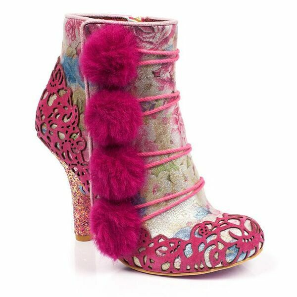 Irregular Choice slumber party boot pink pom pomms ankle boot party 22749b