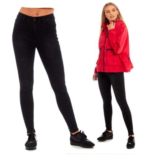 NEW WOMENS LADIES BASIC SLIM FIT STRETCH BLACK SKINNY JEANS MID RISE DENIM PANTS