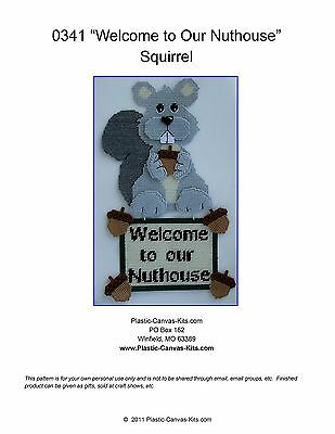 """""""Welcome to our Nuthouse"""" Squirrel Wall Hanging-Plastic Canvas Pattern or Kit"""