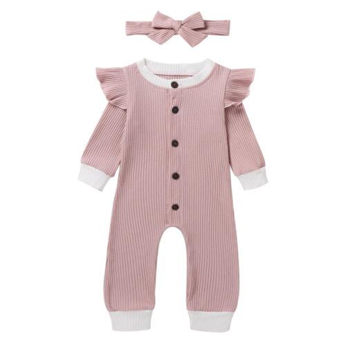 Newborn Baby Girls Clothes Ruffle Bodysuit Romper Jumpsuits Headband Outfits Set