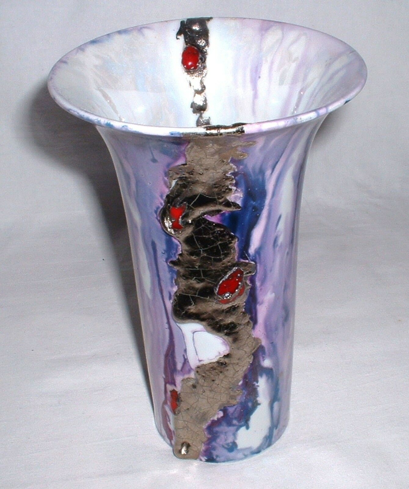 Empereur porcelaine vase 19 cm-violet, bleu, rose avec argent-peintre caractères El