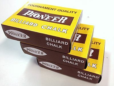 Pioneer Pool Snooker Billiard Cue Tip Table Chalk 3 BOXS Choose Your Colours