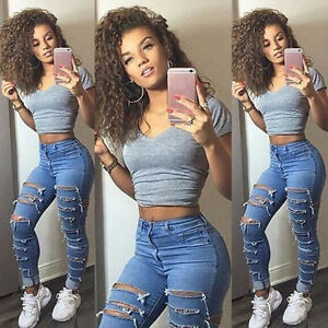 11eb637a4327c Details about Women Ripped Destroyed Jeans Denim Pants Skinny High Waisted  Long Pencil Trouser