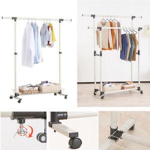 Kleiderständer Wäscheständer Garderobenständer auf Rollen Kleiderstange mobil DE