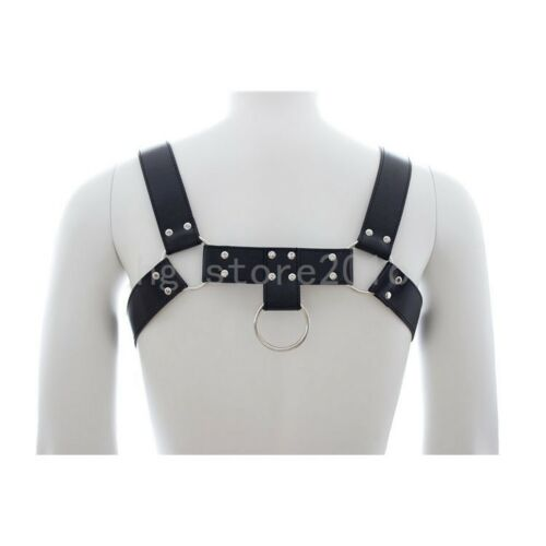 Men Leather Chest Body Harness Gay Clubwear Costume Kit Goth guy Fancy