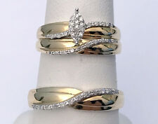 His Her Men Womens marquise Diamond Rings Set Wedding Bands 10k Yellow Gold Trio
