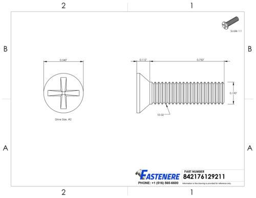 "10-32 x 3//4/"" Flat Head Machine Screws Stainless Steel 18-8 Qty 1000"