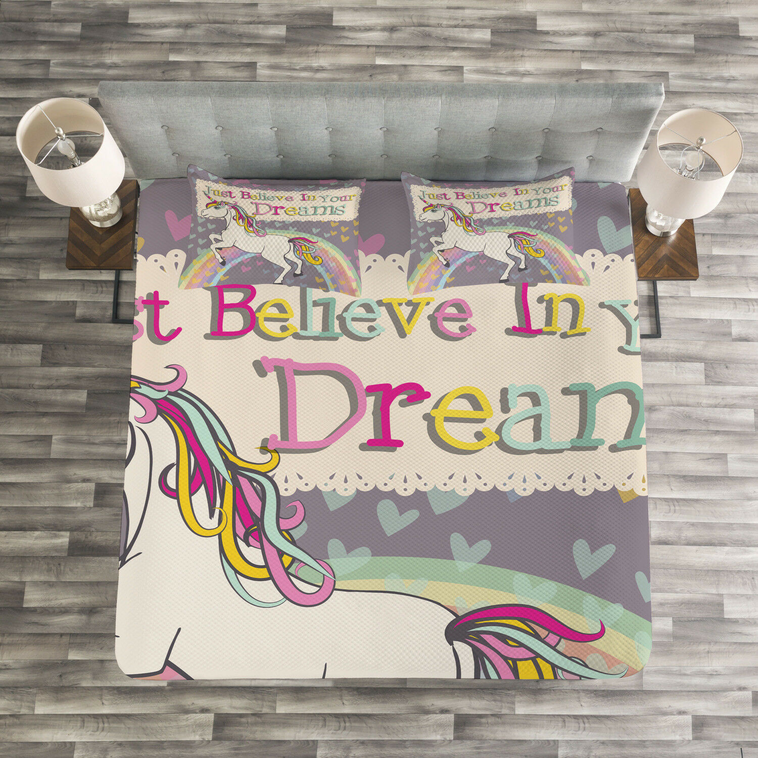Unicorn Quilted Bedspread & Pillow Shams Set, Believe In Your Dreams Print