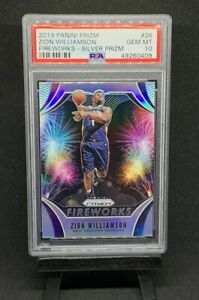 Zion-Williamson-2019-20-Panini-Prizm-Fireworks-Silver-RC-Rookie-PSA-10-LOW-POP