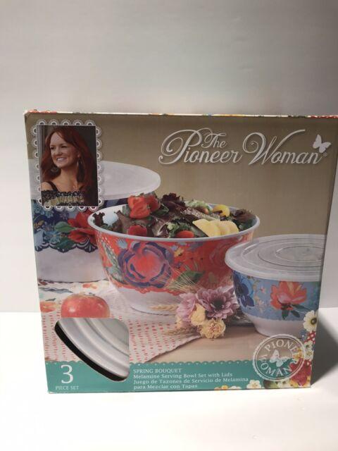 Pioneer Woman Melamine Serving Bowl Set With Lids Of 3 Bowls Spring Bouquet Bar For Sale Online Ebay