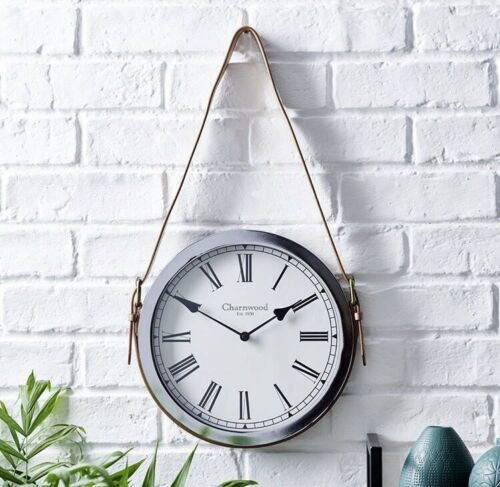 Rétro Marron Clair Bracelet en Cuir Ceinture Argent Horloge Murale Chiffres Romains Home Office