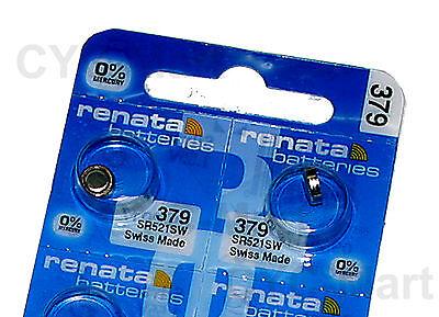 2 pcs x Renata 379 SR521SW Silver Oxide Watch Battery, Swiss Made FREE POST WW