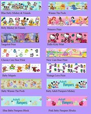 Set of 20 Custom Adult Baby Diaper Tapes Pampers, Mickey, ABDL DDLG  Rare Custom
