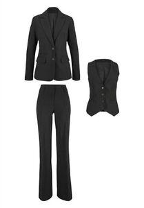 3tlg laura scott hosenanzug neu damen anzug grau blazer hose weste ebay. Black Bedroom Furniture Sets. Home Design Ideas